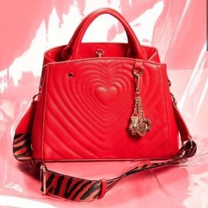 Betsey Johnson Quilted Radiant Heart Satchel